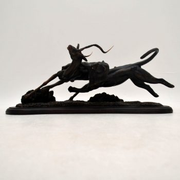 Tim Nicklin 1987 Polybronze Scultpture of Lioness Hunting Antelope - POA