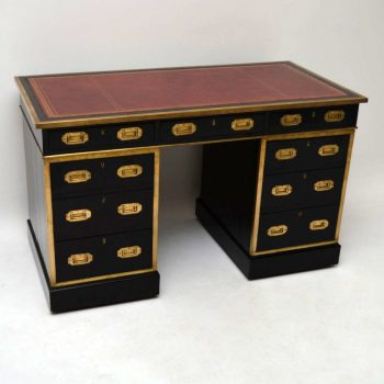 Antique Leather Top Ebonised Campaign Desk