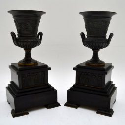 Pair of Neo-Classical 19th Century Bronze Urns