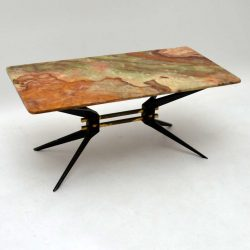Retro Italian Onyx & Steel Coffee Table Vintage 1950's