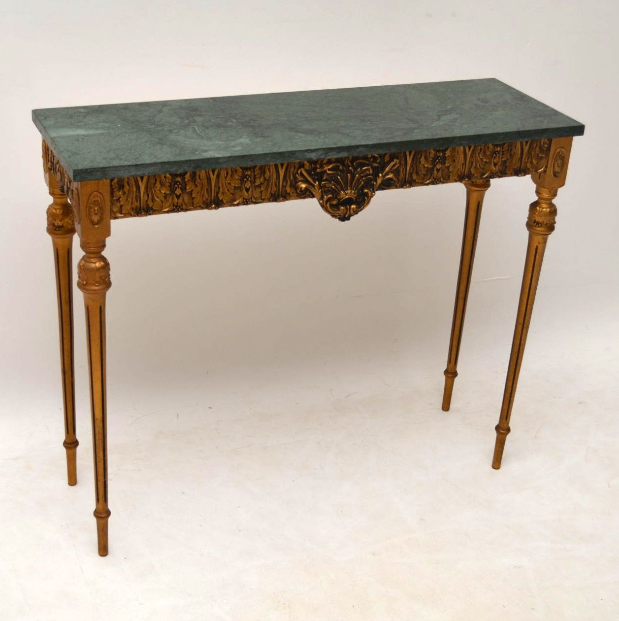 ordinary French Marble Top Table Part - 6: Antique French Marble Top Gilt Wood Side Table