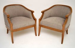 Elegant Pair of Antique Swedish Satinbirch Armchairs