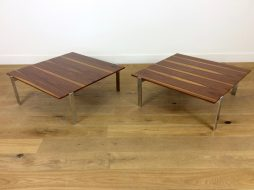 PAIR OF ROSEWOOD AND CHROME COCKTAIL TABLES