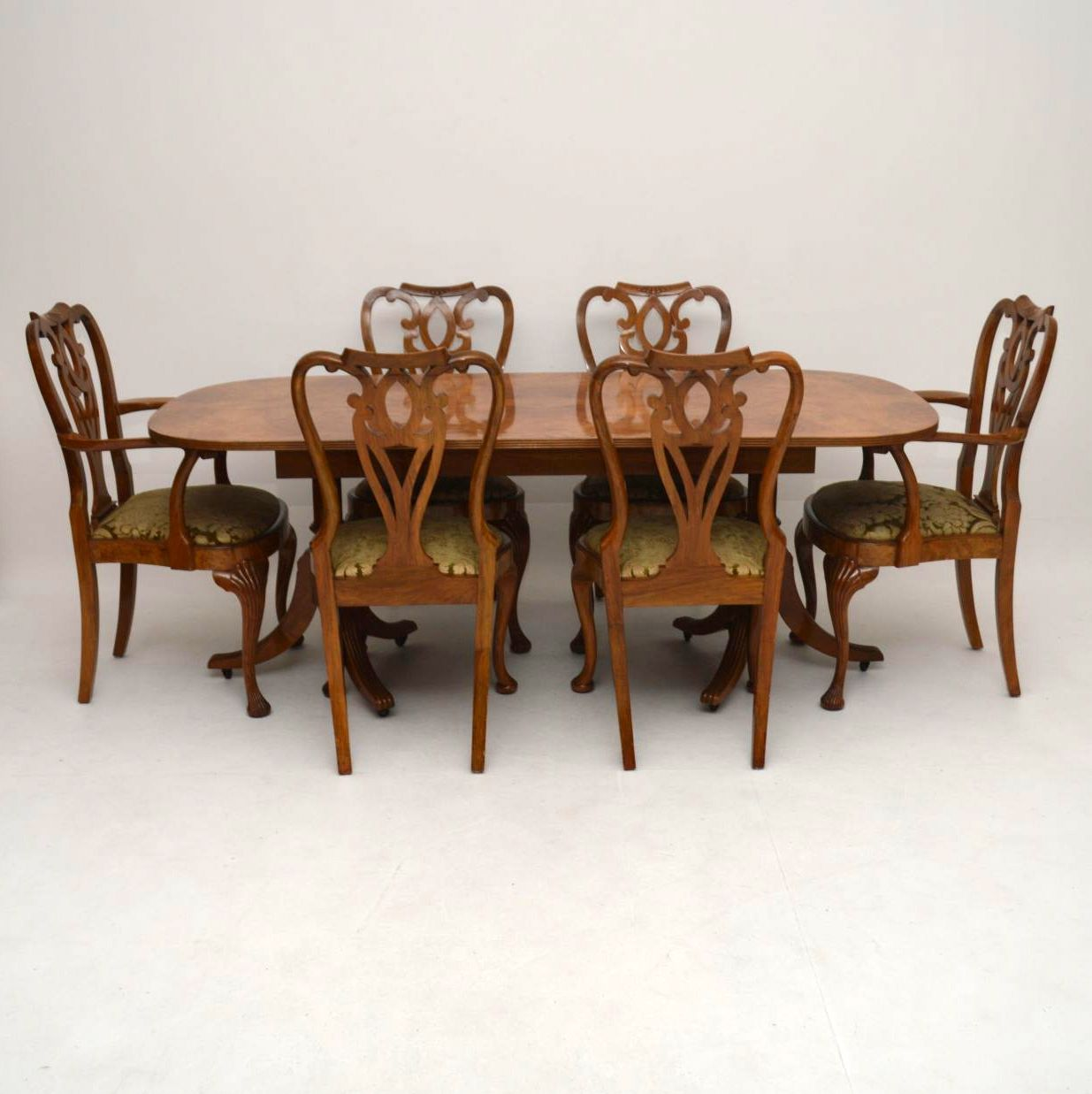 Antique Burr Maple Amp Walnut Dining Table Plus 6 Chairs