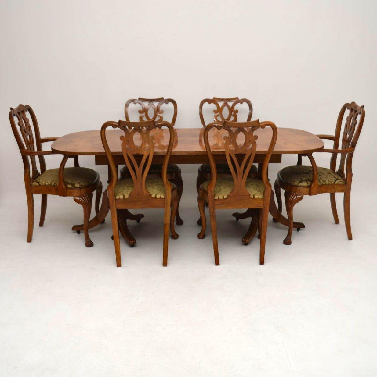 Antique Burr Maple Walnut Dining Table Plus 6 Chairs Interior