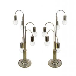 Pair of waterfall chrome table lamps