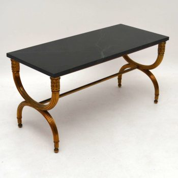 Antique French Gilt Metal Marble Top Coffee Table