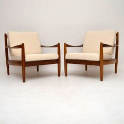 Pair of Danish Retro Walnut Armchairs Vintage 1950's