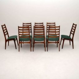 Set of 8 Danish Rosewood & Suede Dining Chairs Vintage 1960's