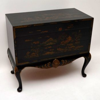 Antique Chinoiserie Ebonised & Gilt Commode