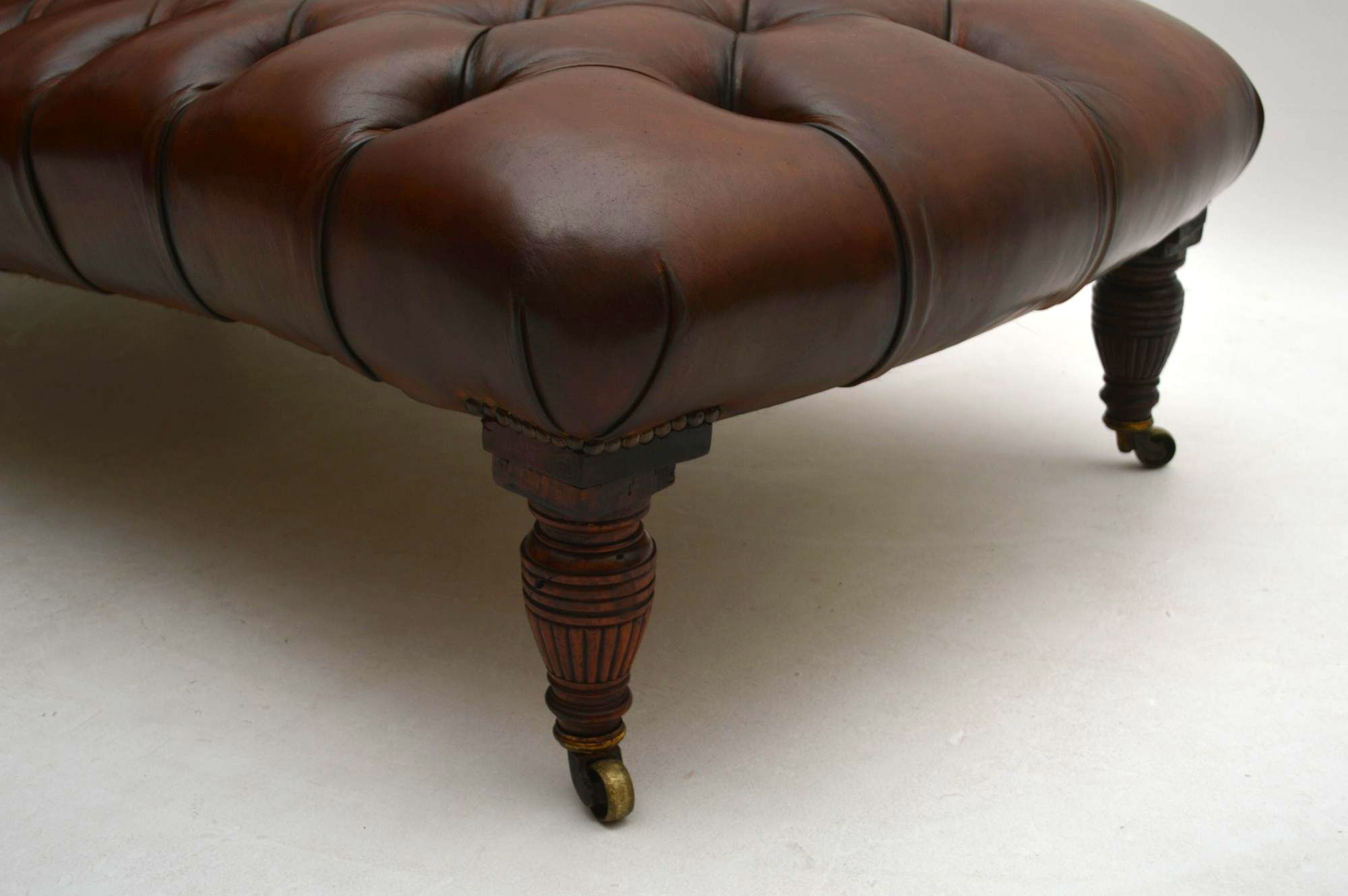 Antique victorian deep buttoned leather chaise lounge for Antique chaise lounges for sale