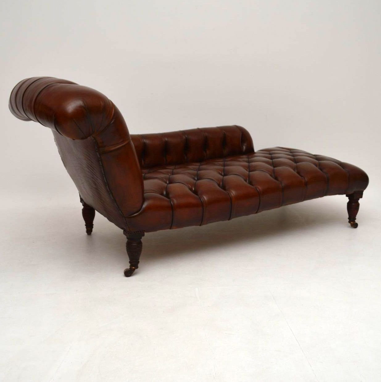 Antique victorian deep buttoned leather chaise lounge for Chaise furniture for sale