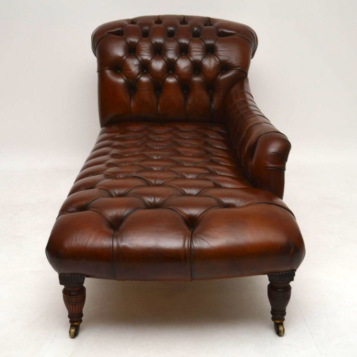 Antique Victorian Deep Buttoned Leather Chaise Lounge