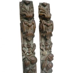 Pair of 18th Century Country House Woodcarvings