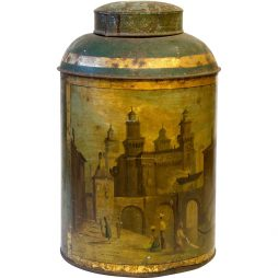 Antique Historic Victorian Tea Tin Canister