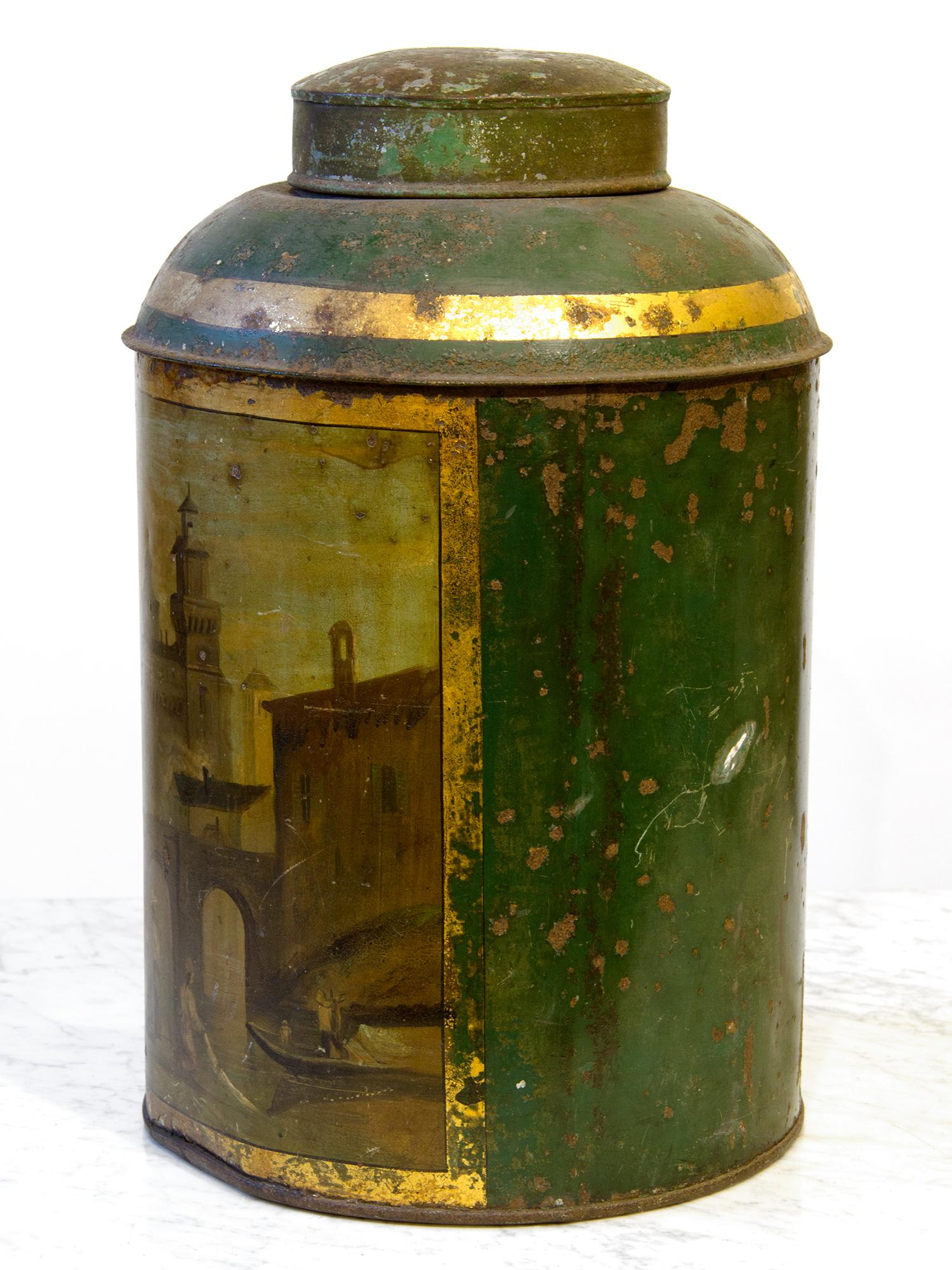 Seems vintage tin canister pity, that