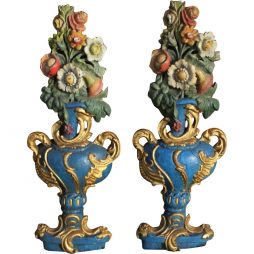 Antique Pair of Historical Vase Carvings