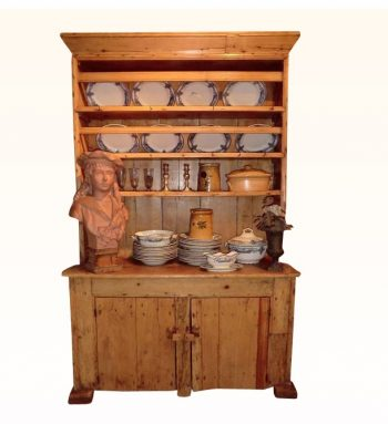 Small Irish Antique Pine Kitchen Dresser