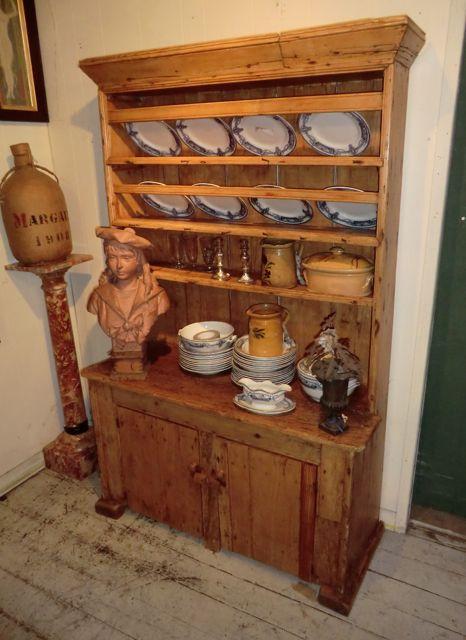 Small Irish Antique Pine Kitchen Dresser Interior