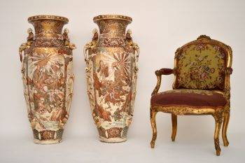 Very Large Pair of Antique Satsuma Vases