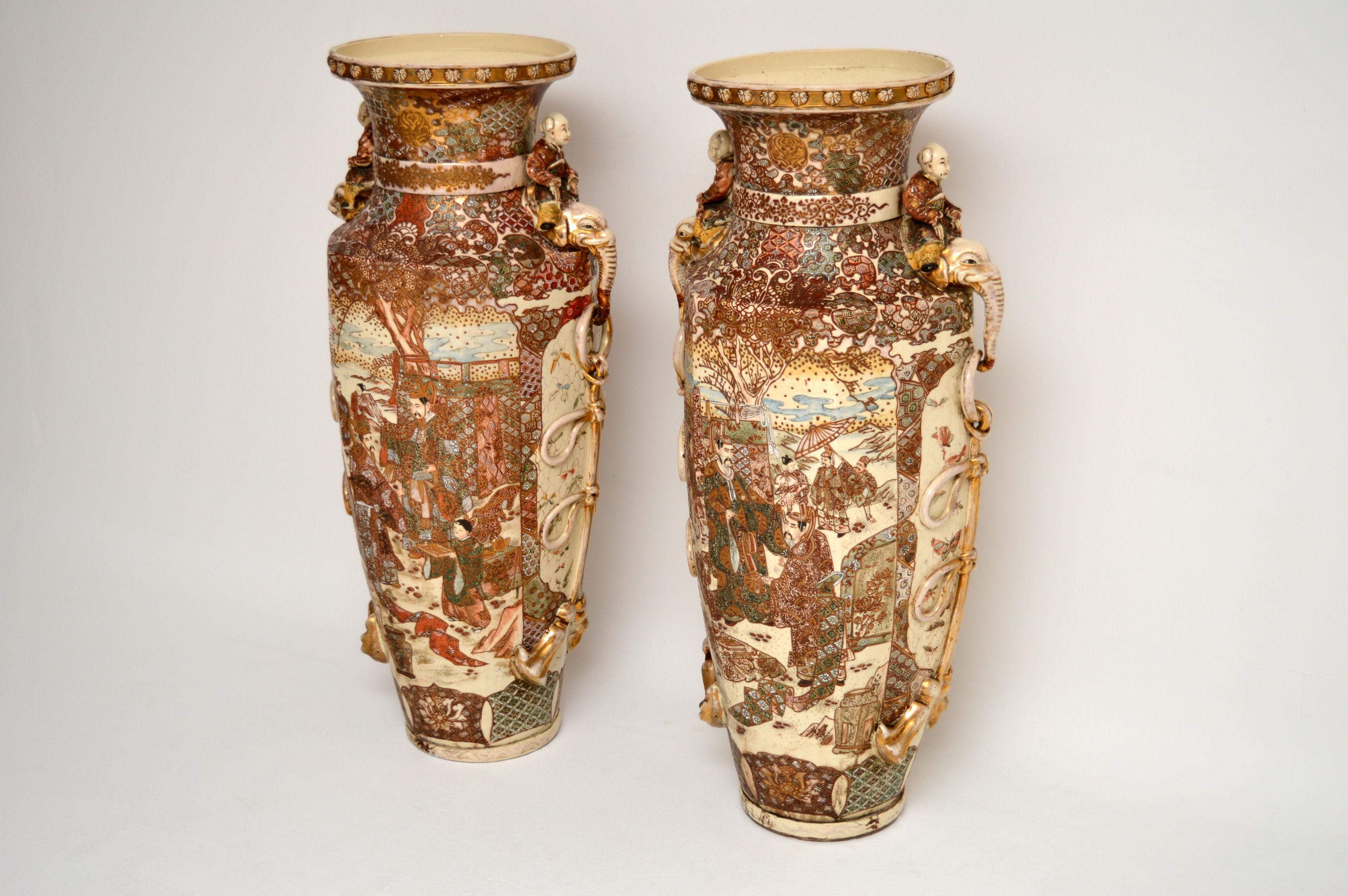 Very Large Pair Of Antique Satsuma Vases Interior