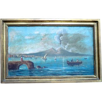 19th Century Oil Painting of Vesuvius Erupting