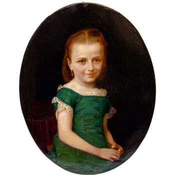 Antique Oil Painting of a Young Girl