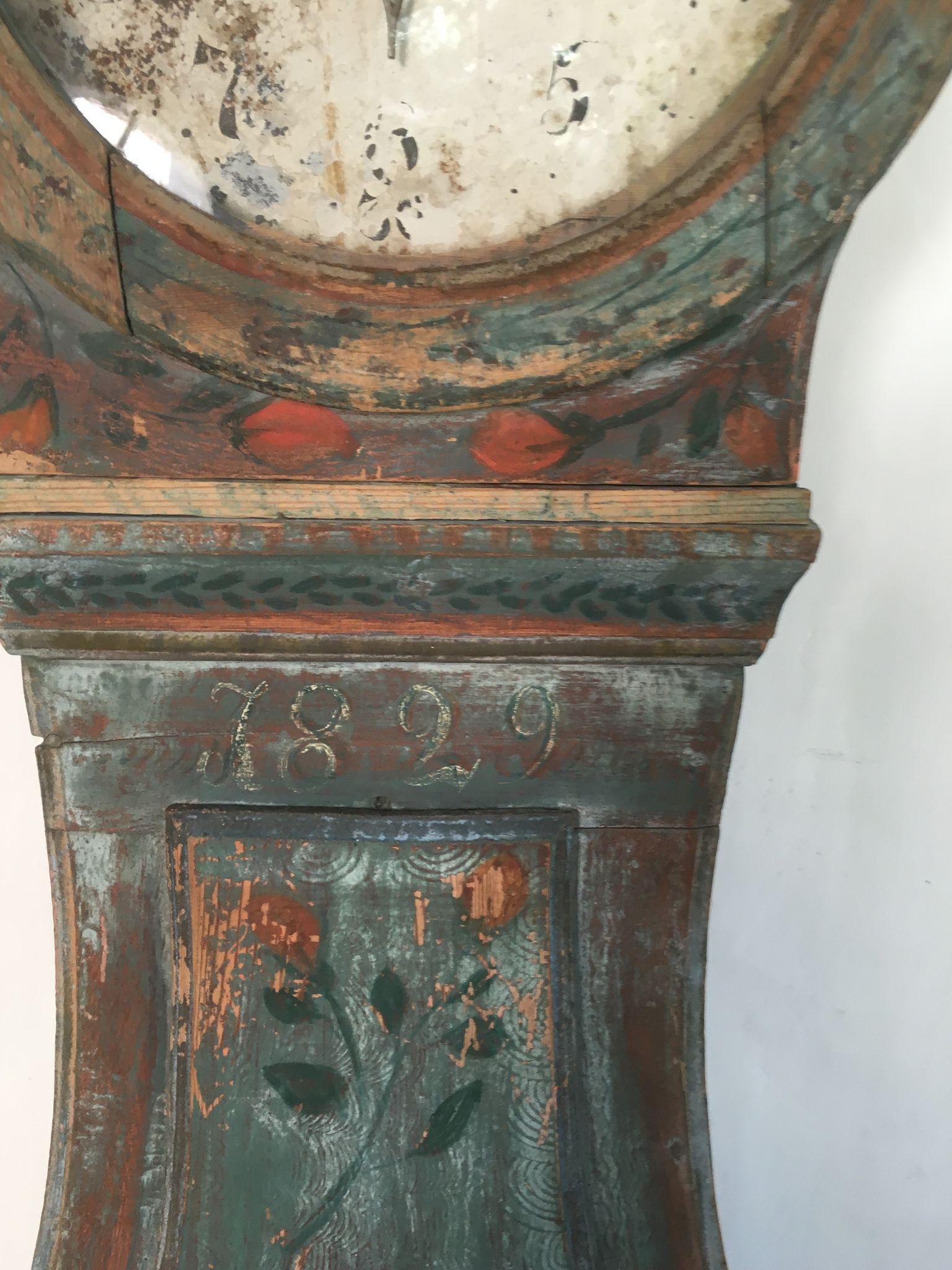 Antique Swedish Country Grandfather Clock Interior