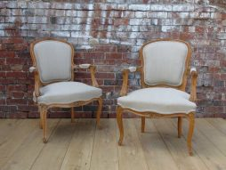 Pair Reupholstered Carved Beech Wood Fauteuils