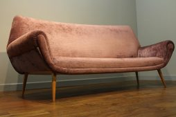 MID-CENTURY 3 SEATER SOFA UPHOLSTERED IN DESIGNERS GUILD CRUSHED VELVET