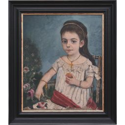 Naive Oil Painting of a Young Girl