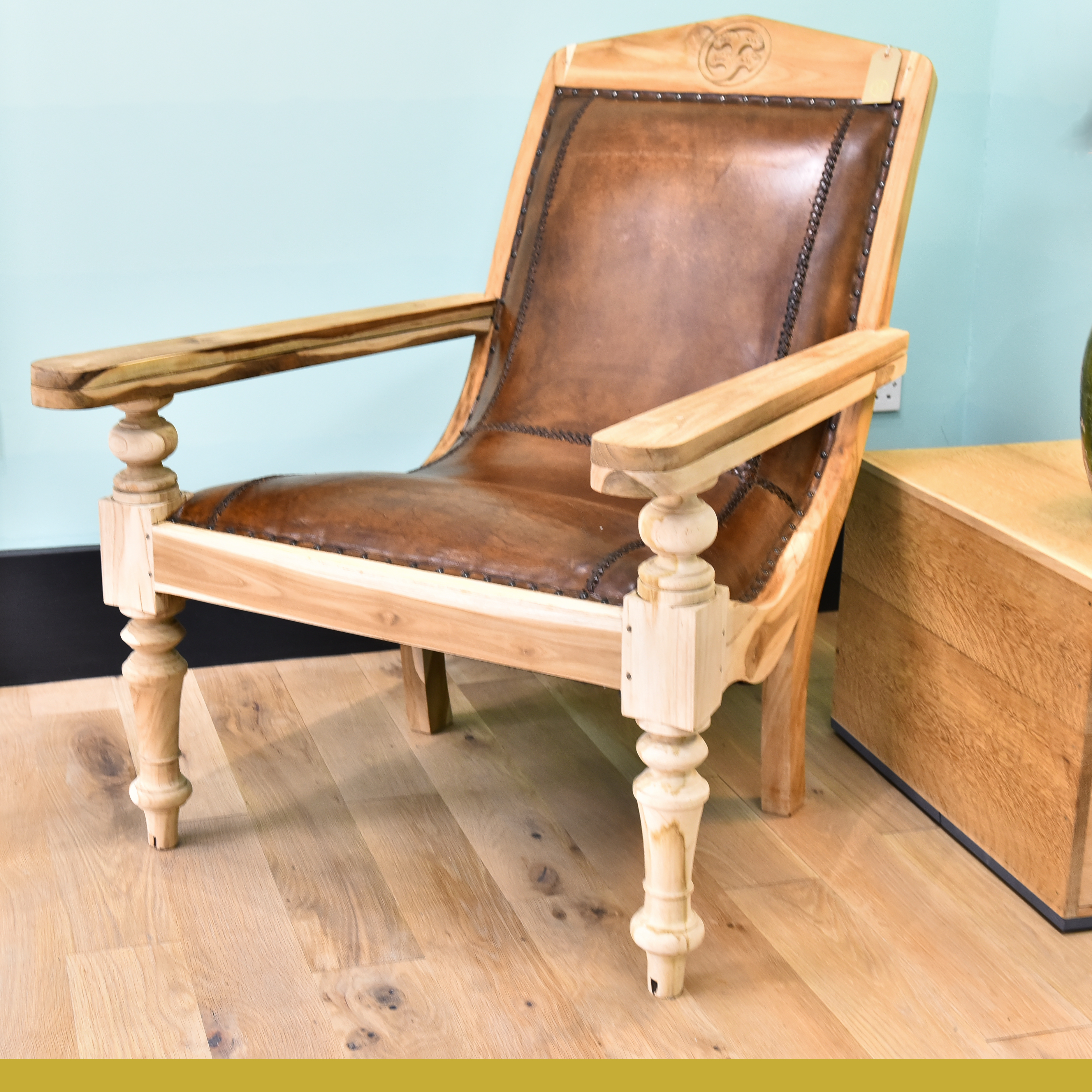 Antique Pair Of Leather Plantation Chairs