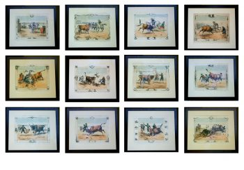 Set of 12 hand coloured Bullfight Engravings