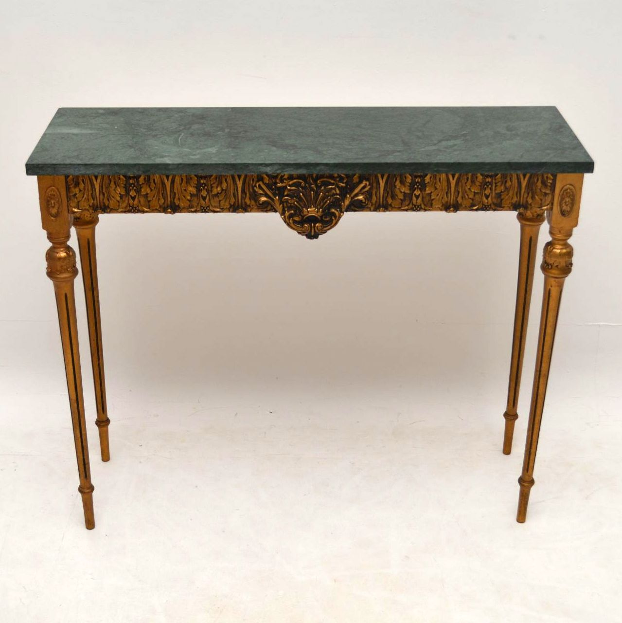 Antique french marble top gilt wood side table interior