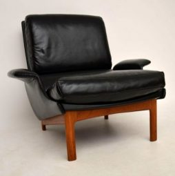 Danish Leather & Teak 'Eve' Armchair By IB Kofod Larsen For Mogens Kold Vintage 1958