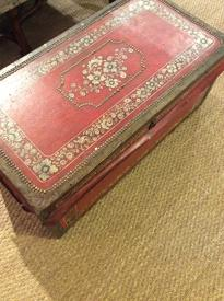 English Antique Painted Leather Camphor Trunk C1850