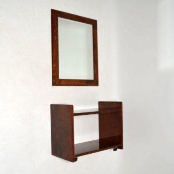 Italian Retro Goat Skin Mirror & Side Table By Aldo Tura Vintage 1960'S