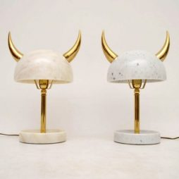 Pair Of Marble and Brass Lamps By Merve Kahraman