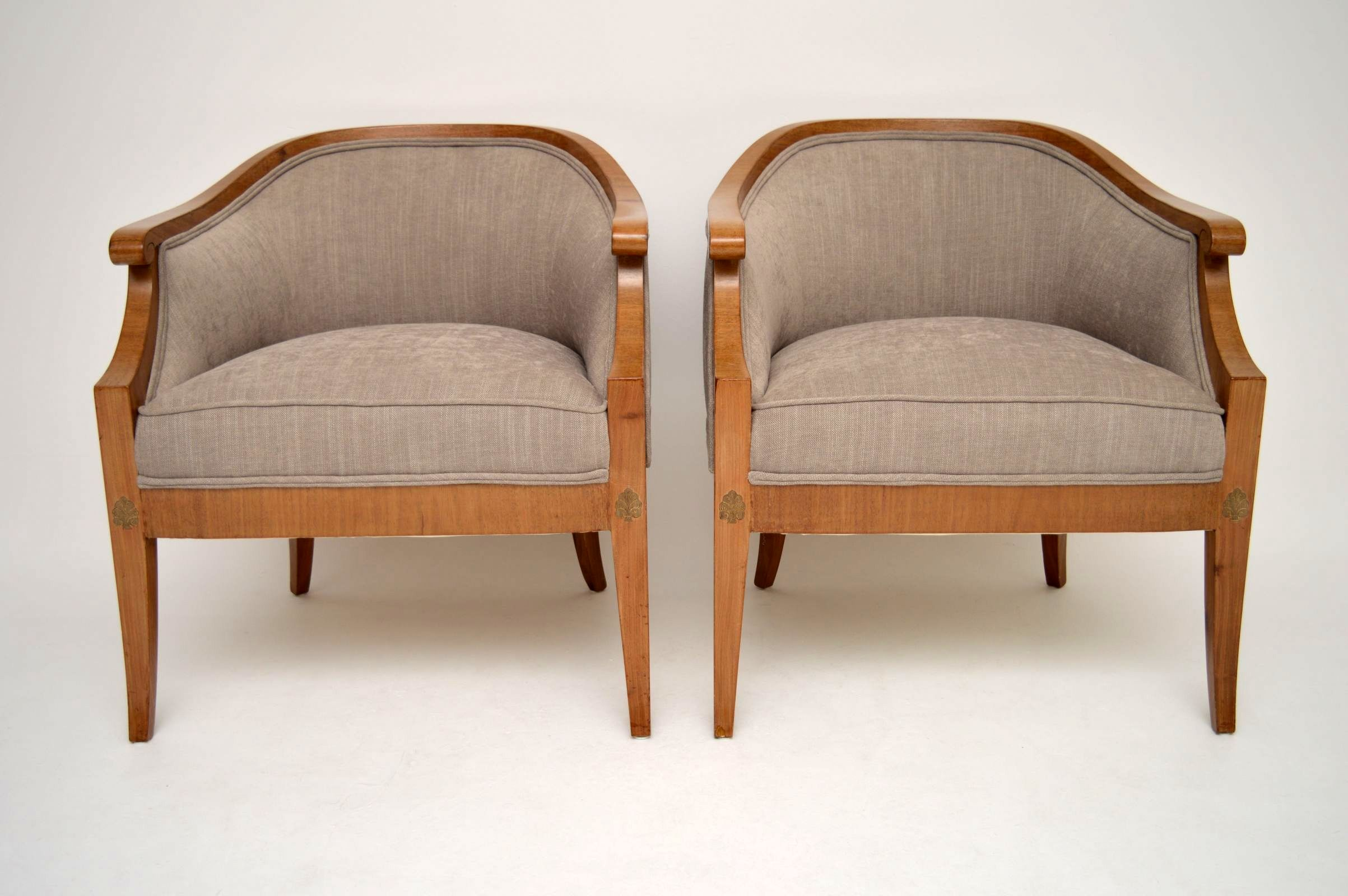 Elegant pair of antique swedish satinbirch armchairs interior boutiques antiques for sale - Vintage pieces of furniture old times elegance ...