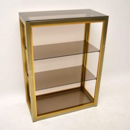 Retro Italian Brass Bookcase Cabinet by Zevi Vintage 1970's