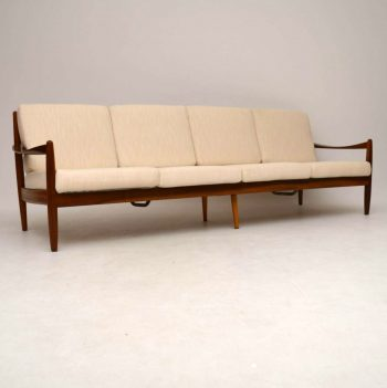 Danish Retro Walnut Four Seat Sofa Vintage 1960's