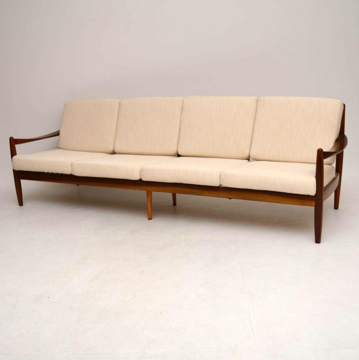 Danish Retro Walnut Four Seat Sofa Vintage 1960 S
