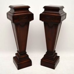 Pair of Large Antique Mahogany Columns – Pedestals