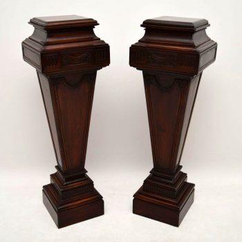 Pair of Large Antique Mahogany Columns – Pedestals