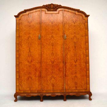 Antique Three Door Burr Walnut Wardrobe
