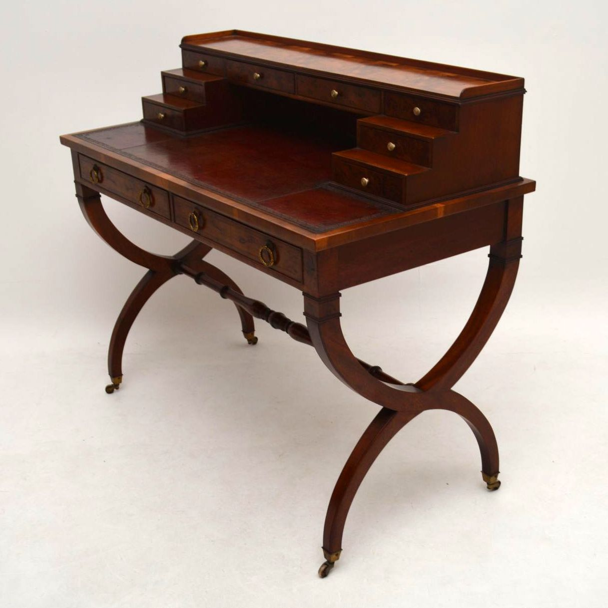 Antique Yew Wood Leather Top Writing Table Desk  Interior. How To Fix Roll Top Desk. Refurbished Tables. Stackable Side Tables. Interview Questions For Front Desk Position. Help Desk Jobs. Mid Century Modern Glass Coffee Table. Desk Chair Back Pain. Clear Acrylic Drawer Pulls