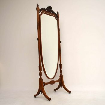 Antique Edwardian Satin Wood Cheval Mirror
