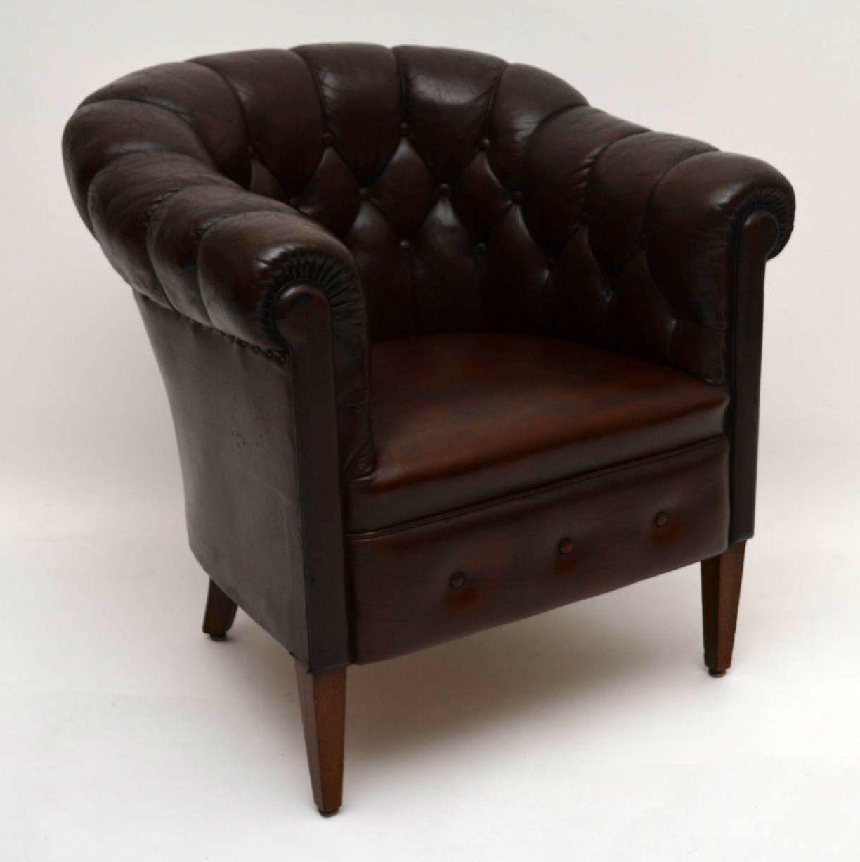 Pair of Antique Swedish Leather Armchairs | Interior ...