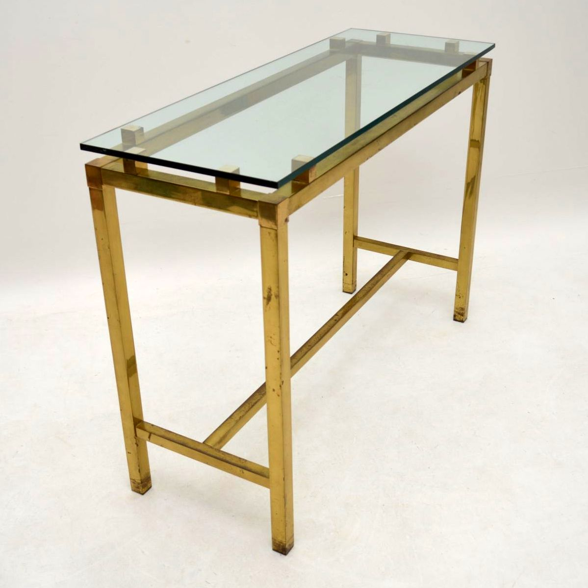 Retro Brass Amp Glass Console Table Vintage 1970 S