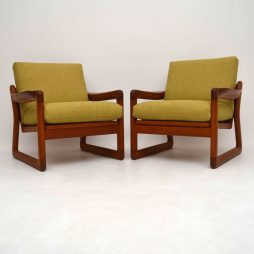 Pair of Danish Retro Solid Teak Armchairs Vintage 1970's